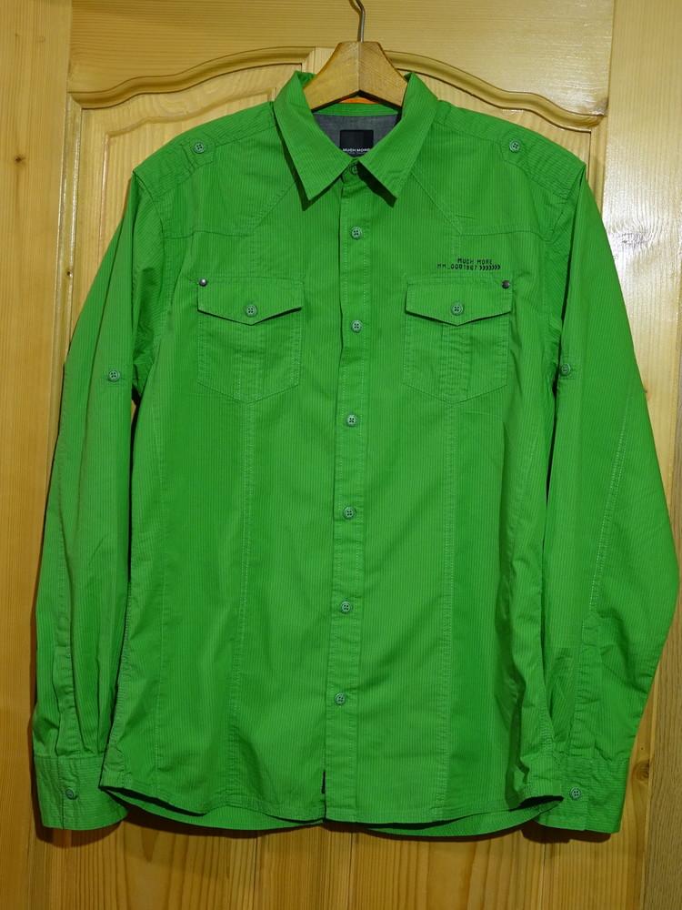 Гламурная приталенная ярко зеленая х/б рубашка much more германия l. фото №1