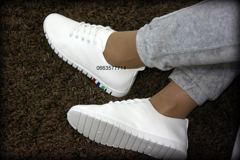Удобные белые женские мокасины кеды для повседневной носки, отличное качество , фото №1