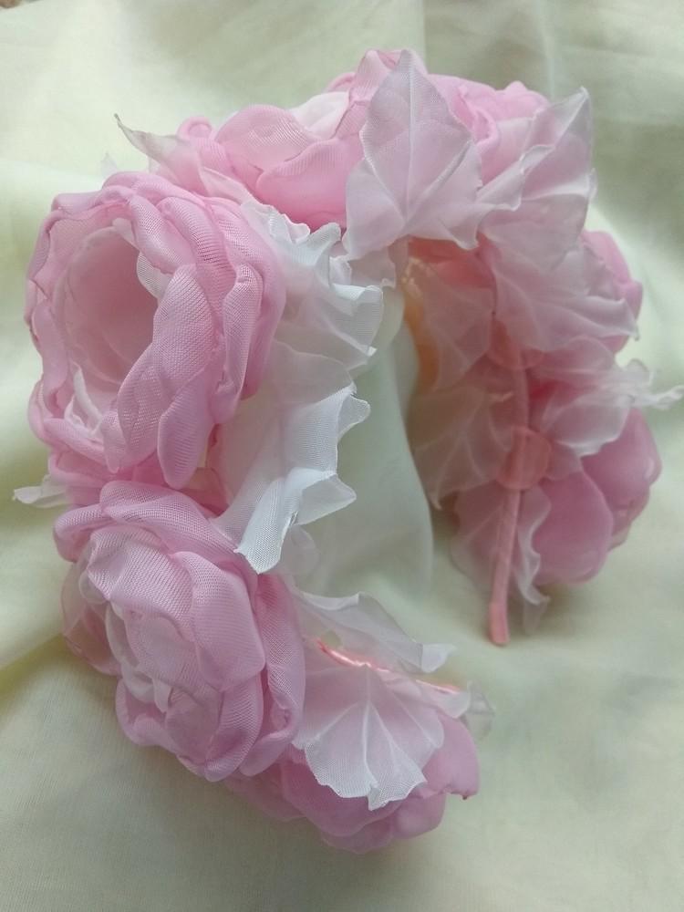 Шикарный обруч с цветами, веночек , ободок , цветы из шифона и атласной ленты фото №1
