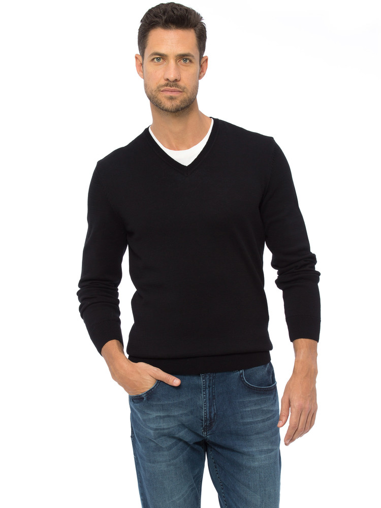 Черный мужской свитер lc waikiki / лс вайкики с v- образным вырезом фото №1