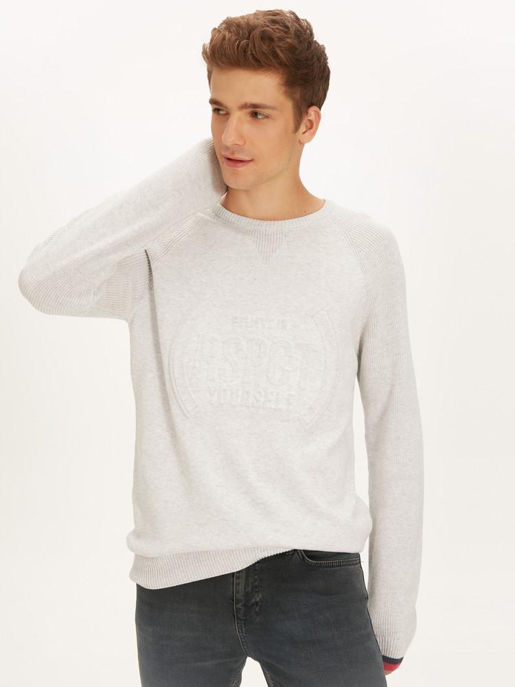 Серый мужской свитер lc waikiki / лс вайкики с фактурной надписью believe in rspct yourself фото №1