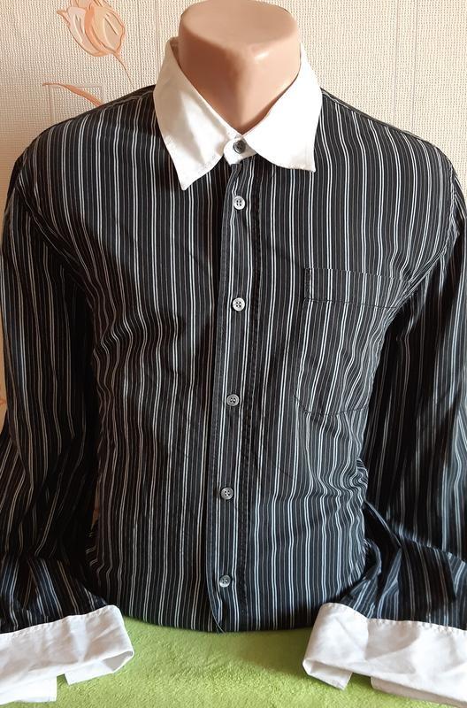 Приталенная рубашка в полоску под запонки tommy hilfiger made in turkey фото №1