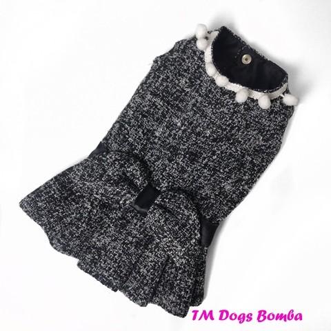 Платье для собачек кашемир черно-серое o-48 фото №1