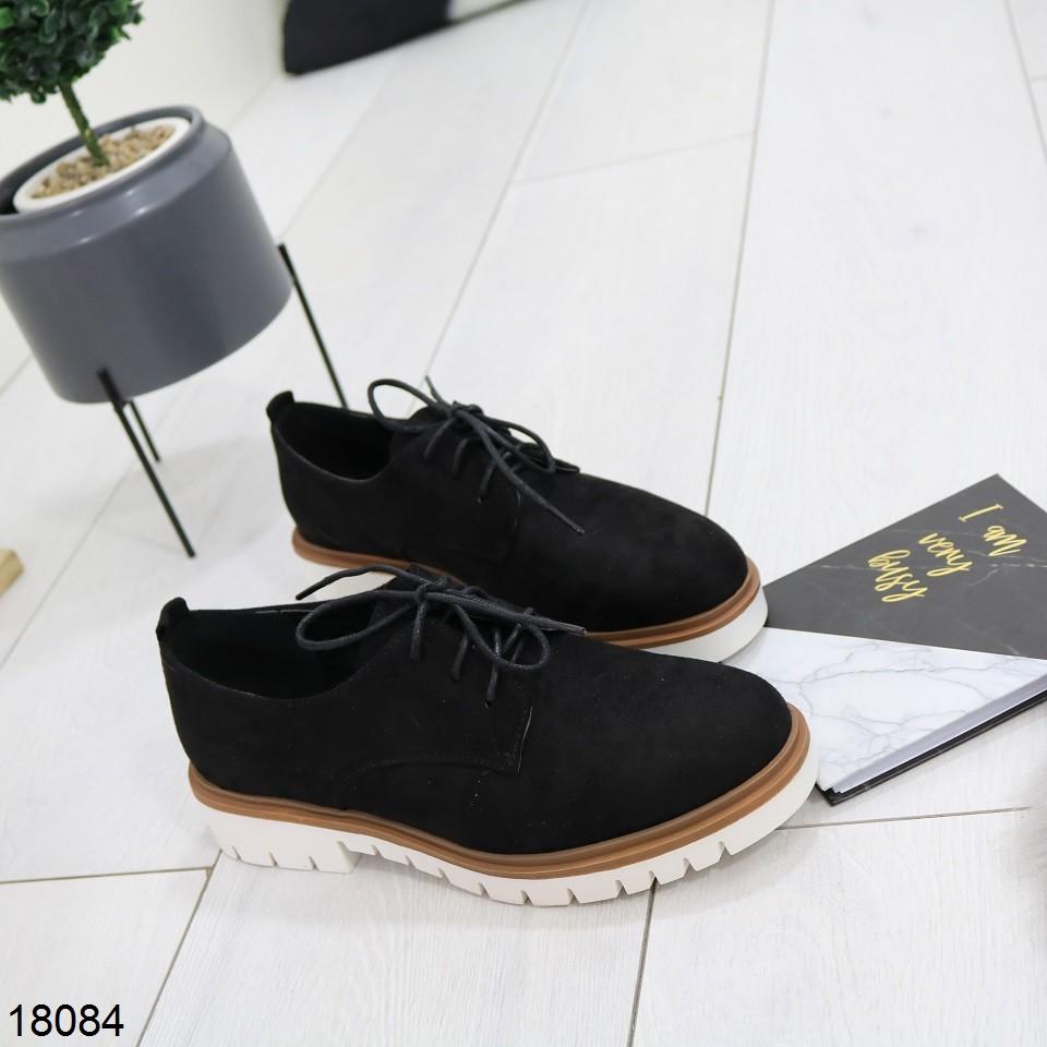 Новинка стильные туфли на шнурках экозамша фото №1