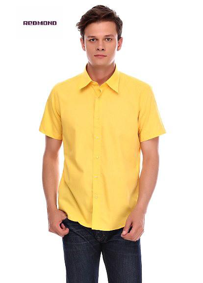 Стильная классическая рубашка от торговой марки redmond в оранжевом цвете. фото №1