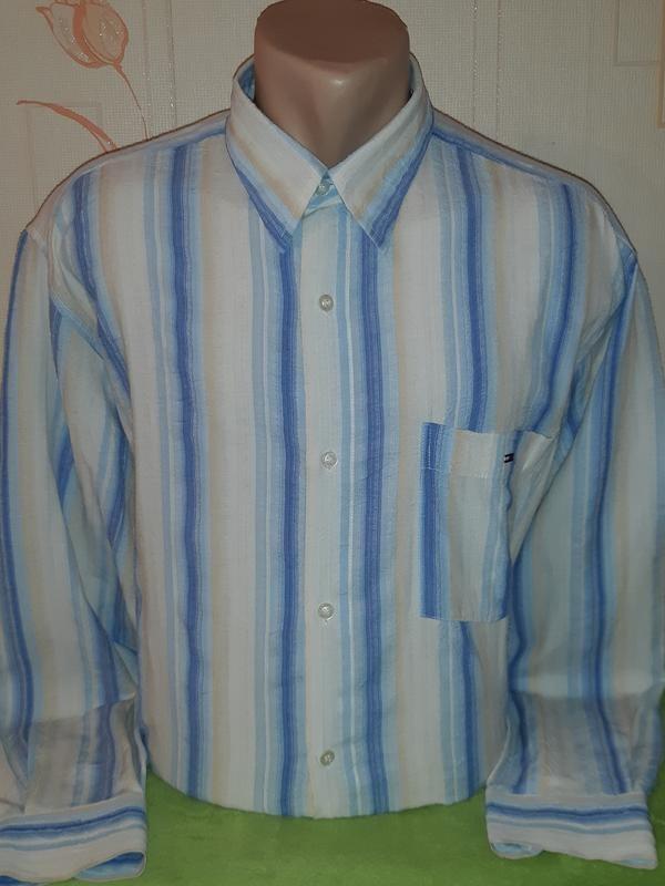 Винтажная рубашка в полоску tommy hilfiger фото №1