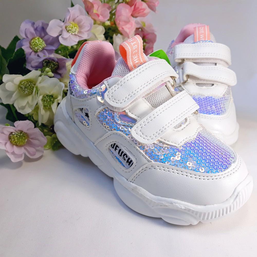 Кроссовки белые с пайетками на девочку р-р 21-24 фото №1