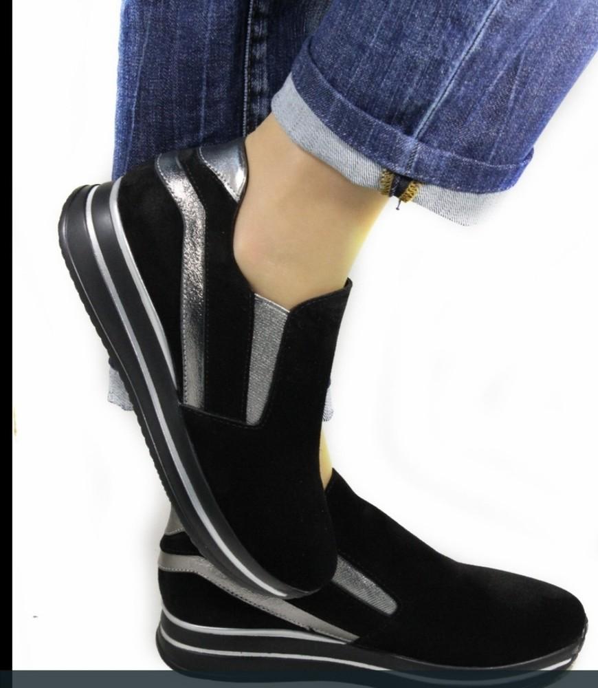 Комфортные кожаные кроссовки-туфли фото №1