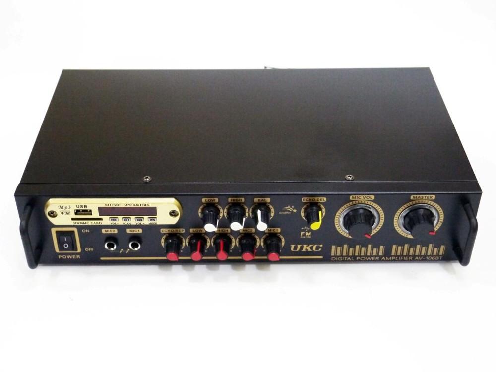 Усилитель звука ukc av-106bt bluetooth usb + караоке 2микрофона фото №1