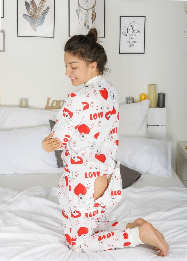 Пижама попожама влюбленный друг, размер m,s, l бязь фото №1
