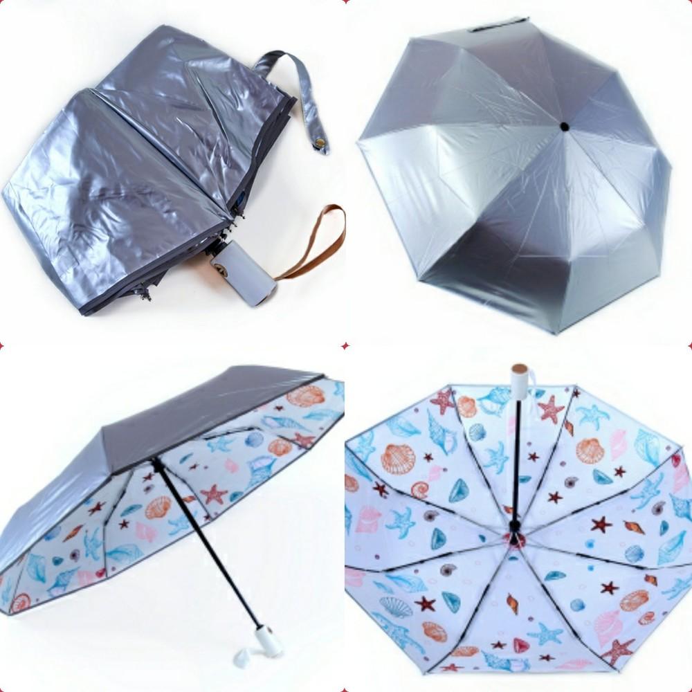 Компактный прочный складной детский зонт автомат для девочки подростка фото №1