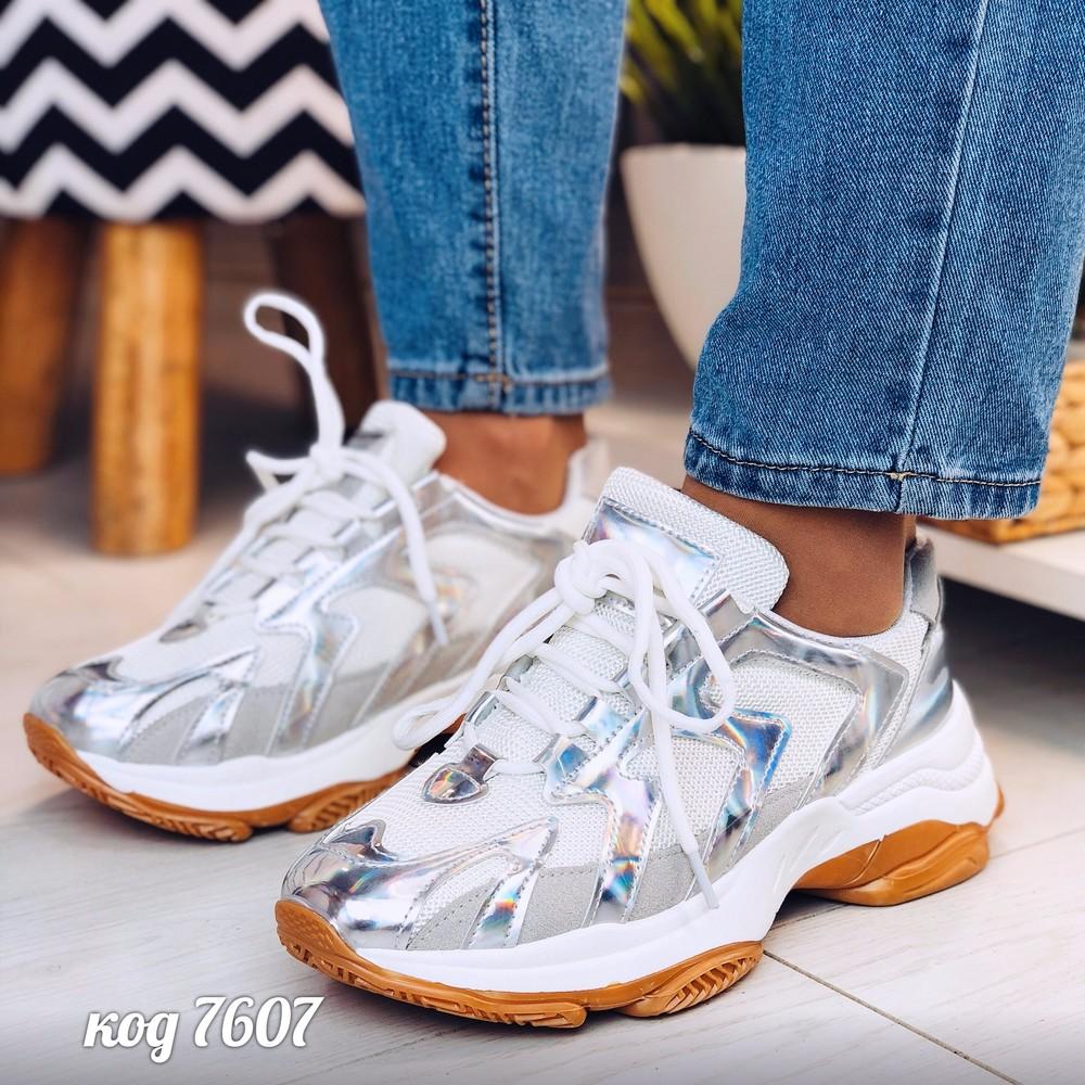 Бело-серебреные кроссовки из эко-кожи фото №1