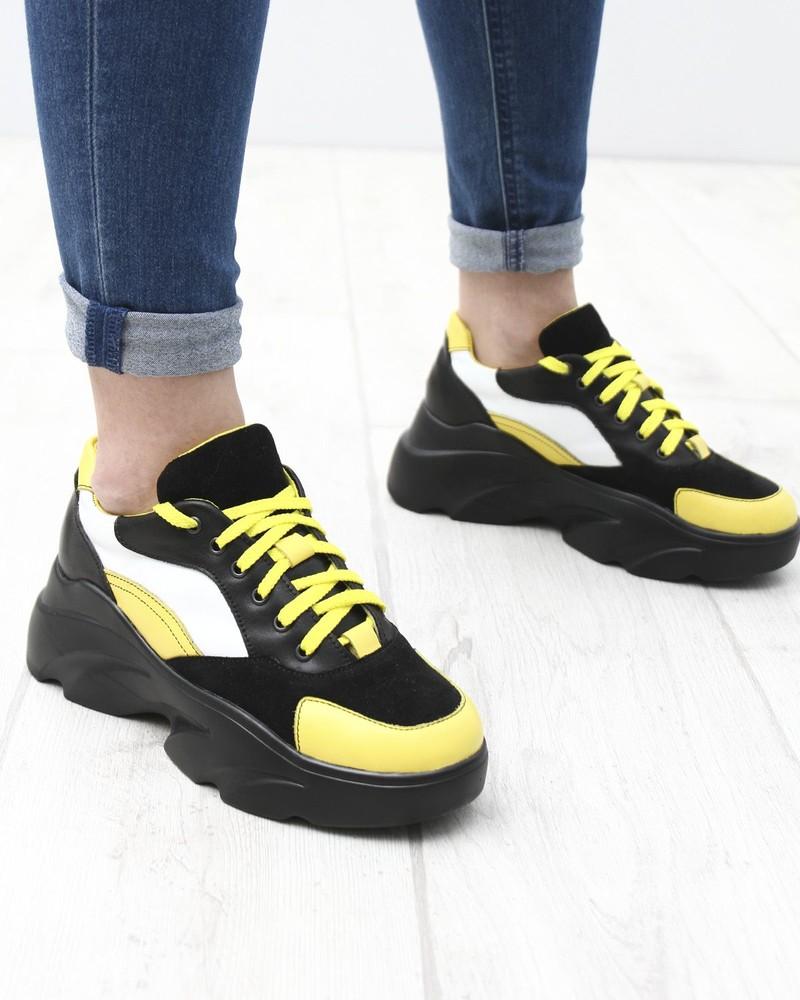 Новинка 2020 кожаные кроссовки на высокой черной платформе, желтый, рыжий, красный, кроссовки кожа фото №1