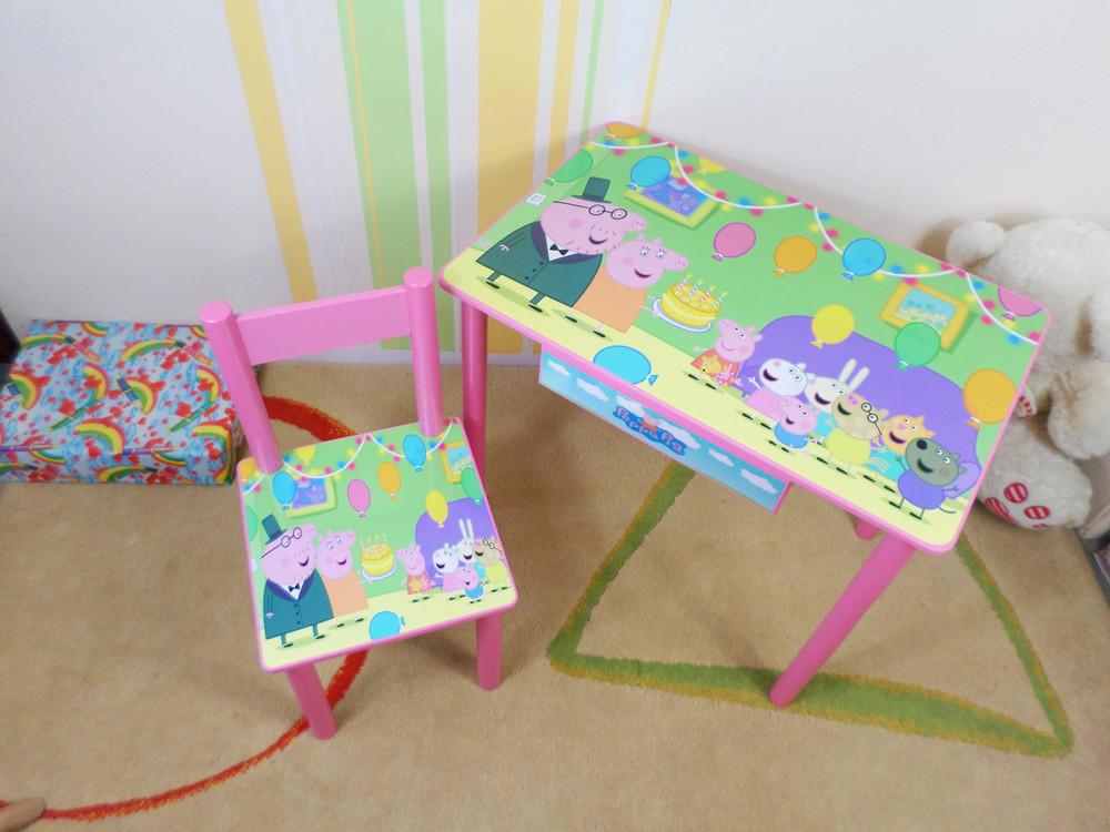 """Набор детской мебели """"свинка пеппа"""" столик-парта и стульчик (стол) от 2 до 7 лет фото №1"""