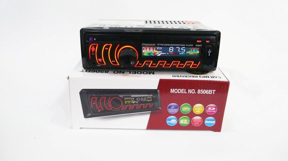Магнитола pioneer 8506bt bluetooth, mp3, fm, usb, sd, aux - rgb подсветка фото №1