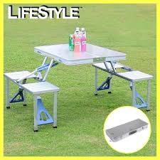 Складной алюминиевый стол для пикника со стульями picnic table фото №1