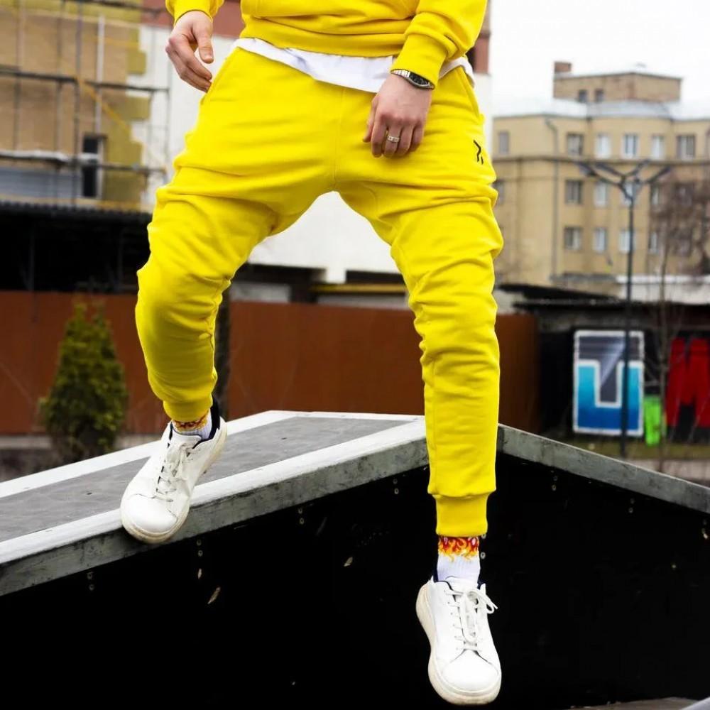Cпортивные штаны пушка огонь jog желтые фото №1