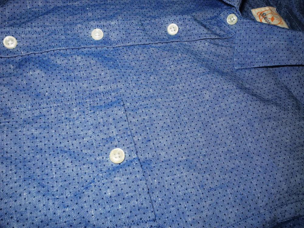 Мужская рубашка синяя голубая в крап в горошек узорчик лен simon carter l m фото №1