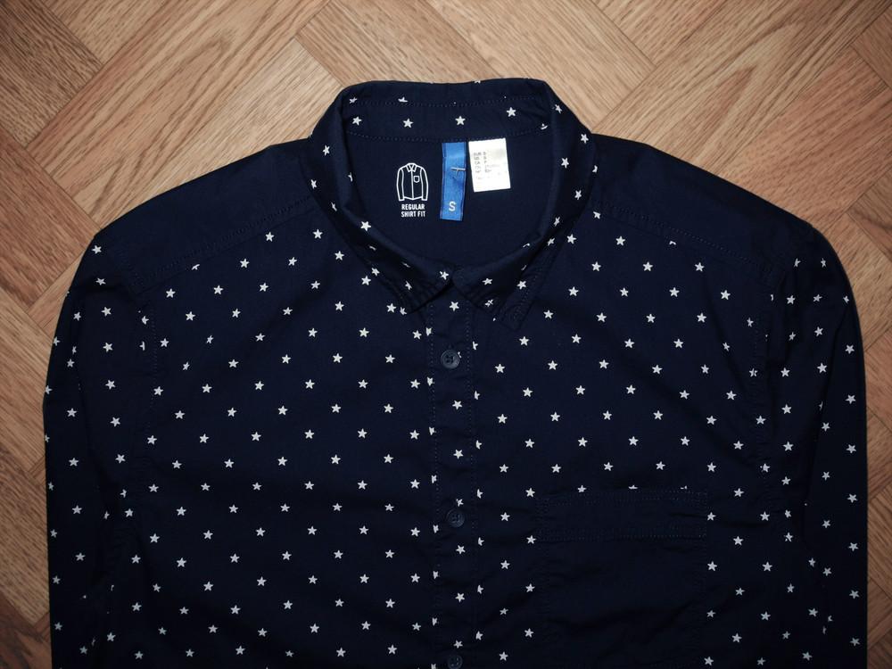 Акция подарок мужская рубашка синяя h&m s m фото №1