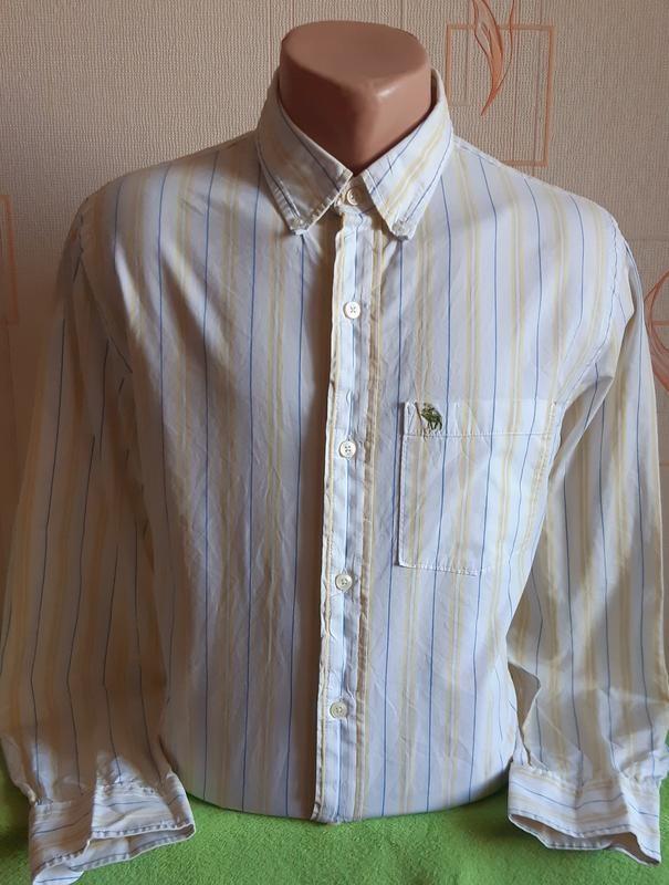 Винтажная рубашка в полоску abercrombie &fitch, made in madagascar фото №1