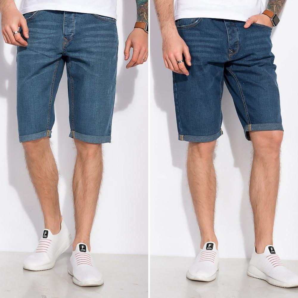 Шорты джинсовые с лёгкими потертостями фото №1