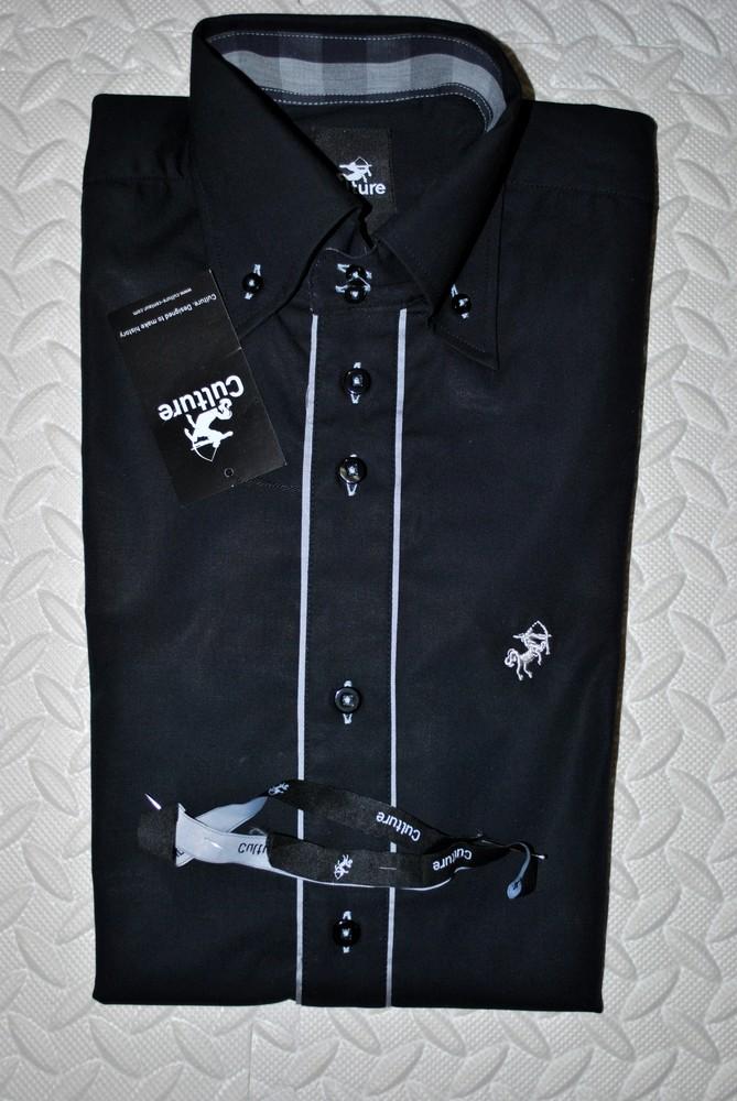Рубашка мужская новая черная богемный бренд culture дания люкс! фото №1
