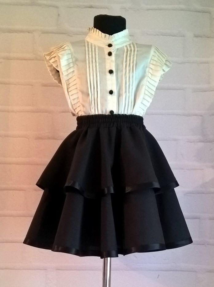 Черная школьная юбка. пышная юбка на резинке для девочек 122-140 фото №1