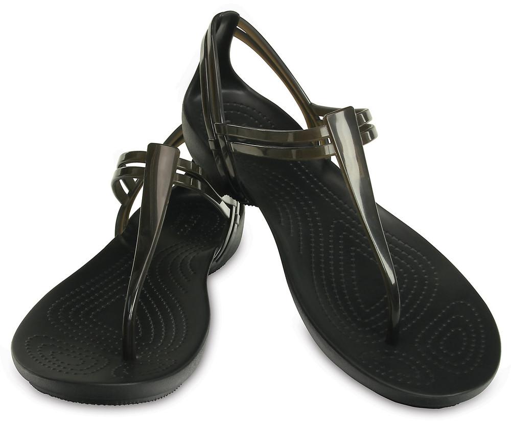 Сандалии женские crocs черные размер 39/40 eu w9 isabella t-strap slip-on sandals black 001 фото №1