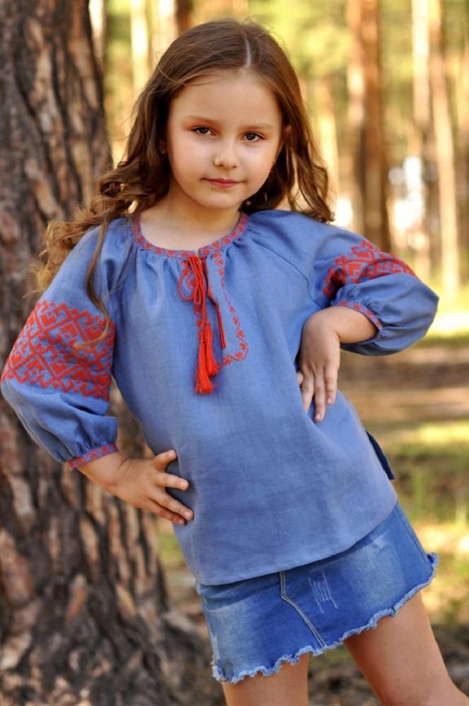 Дитяча блуза з вишивкою з тонкого льону фото №1