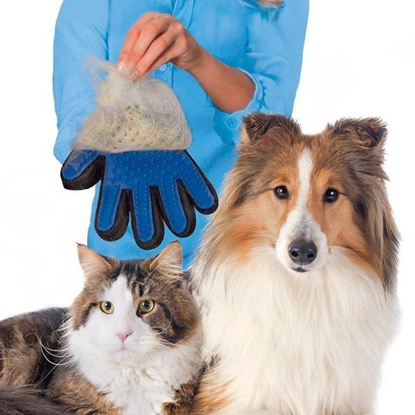 Перчатка для вычесывания шерсти для собак и кошек deshedding фото №1