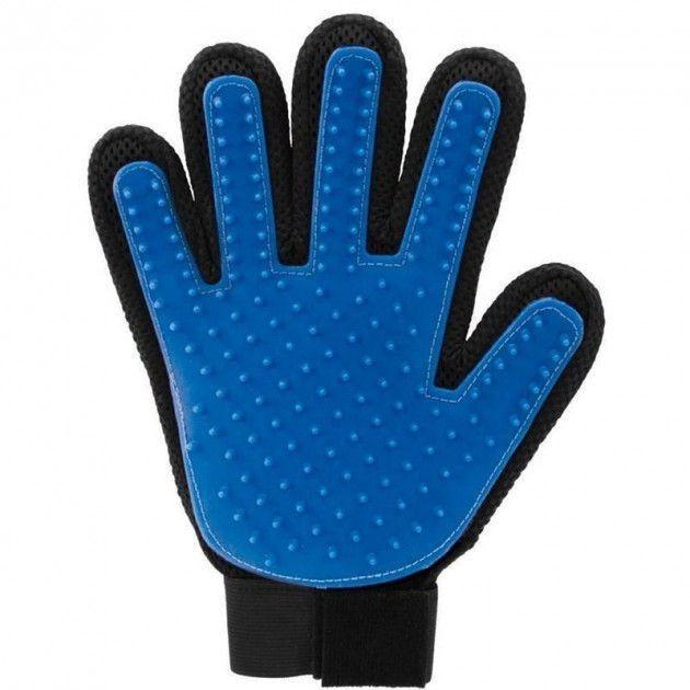 Щетка перчатка для вычесывания шерсти домашних животных true touch фото №1