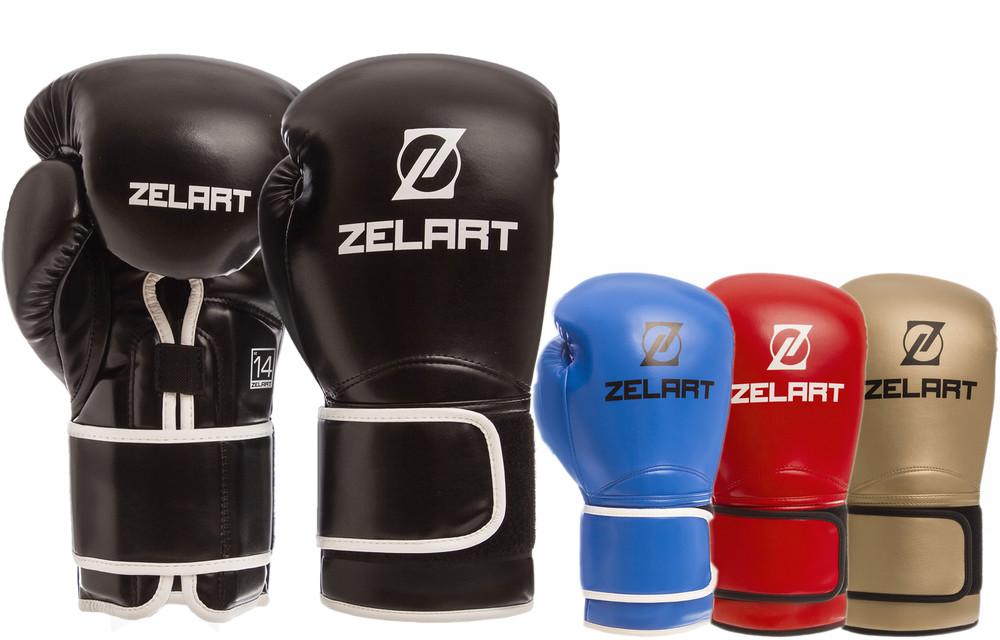 Перчатки боксерские на липучке zelart 1391: 10-14 унций, pu (4 цвета) фото №1