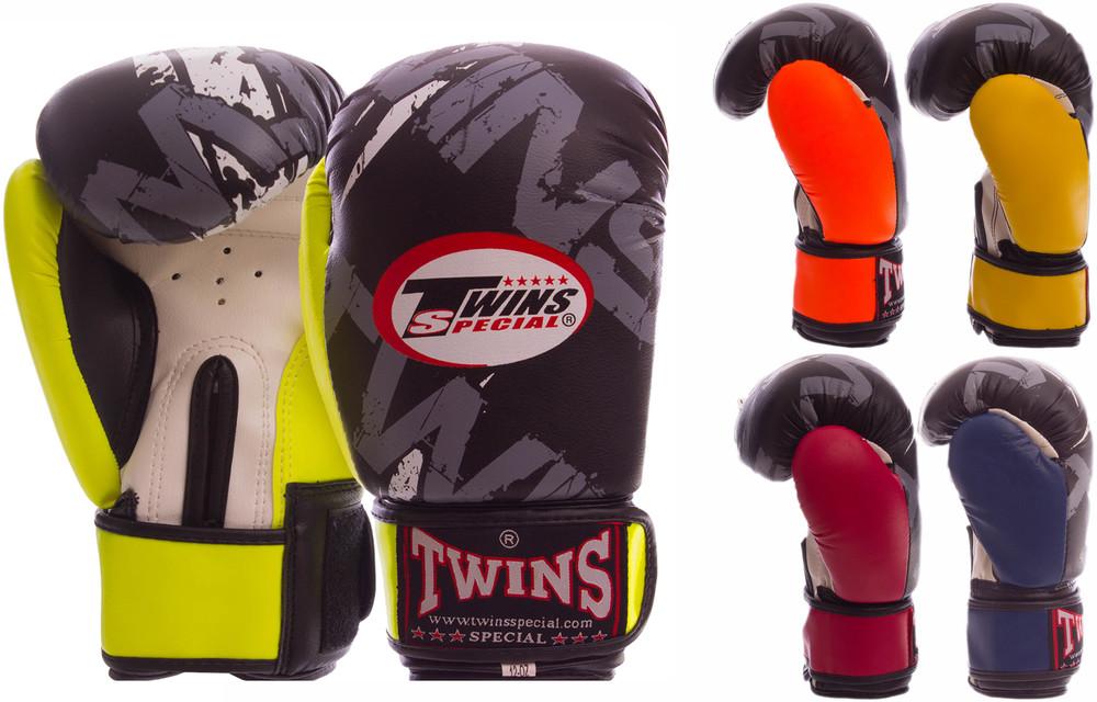 Перчатки боксерские на липучке twins 2206: 4-12 унций, pvc (5 цветов) фото №1