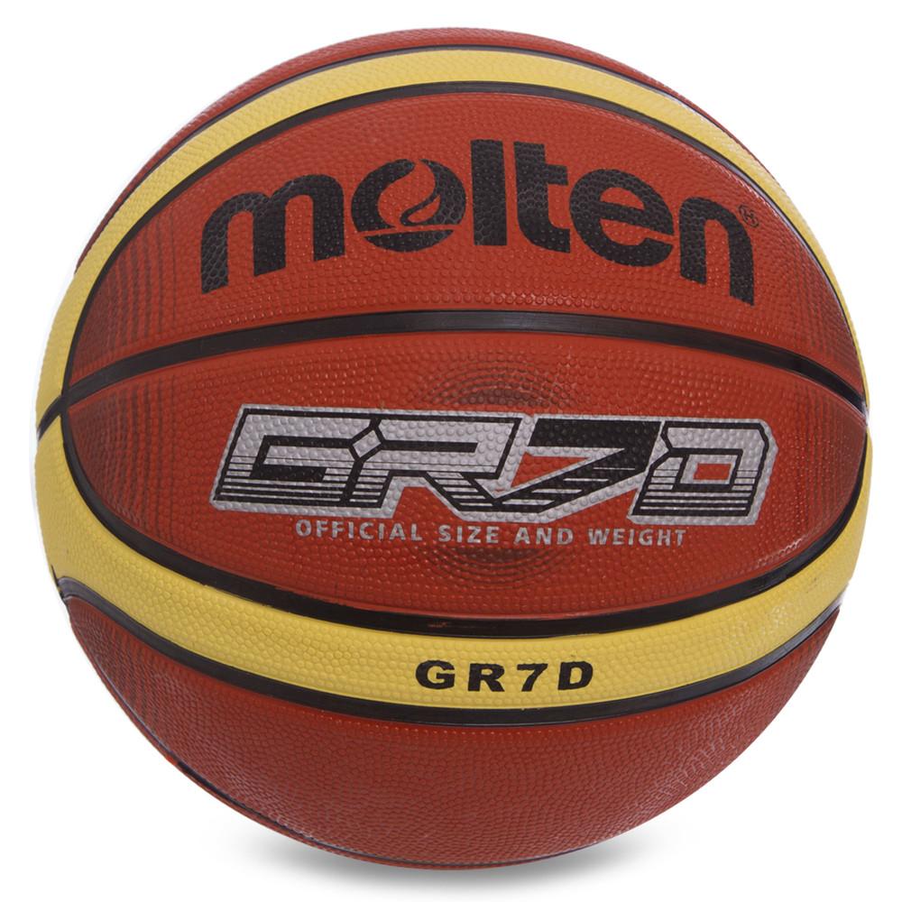 Мяч баскетбольный резиновый molten №7 bgrx7: размер №7 (резина, бутил) фото №1