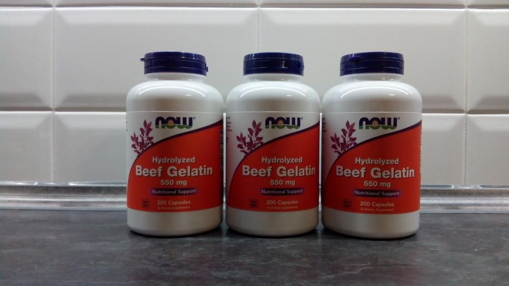 Now foods, 90% говяжий желатин, 200 капсул, коллаген фото №1