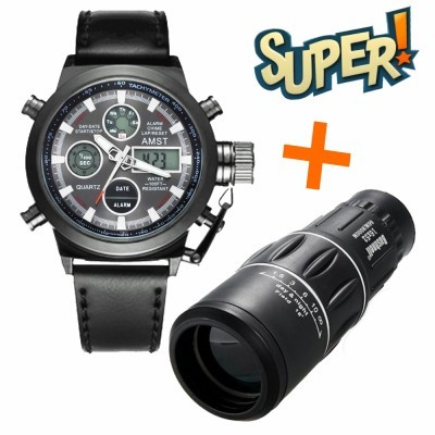 Комплект монокуляр монокль bushnell с чехлом + армейские часы amst фото №1