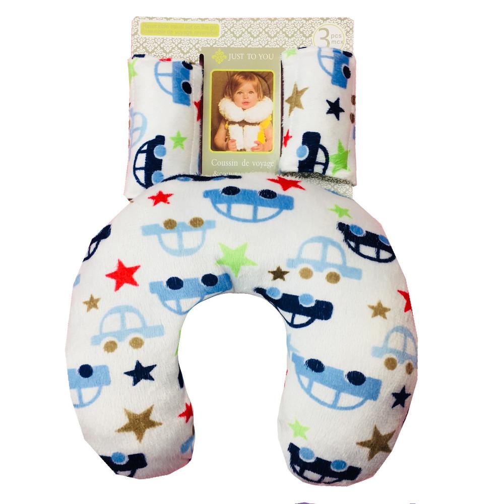 Подушка под шею с накладками на ремень для новорожденного. машины и звезды. фото №1