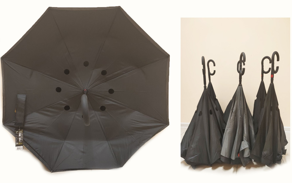 Зонт наоборот, зонт обратного сложения, ветрозащитный зонт up-brella, антизонт, зонт перевертыш фото №1