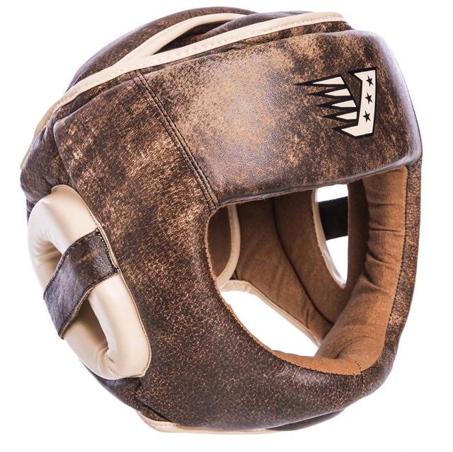 Шлем боксерский с полной защитой кожаный velo 2217: размер м-xl фото №1
