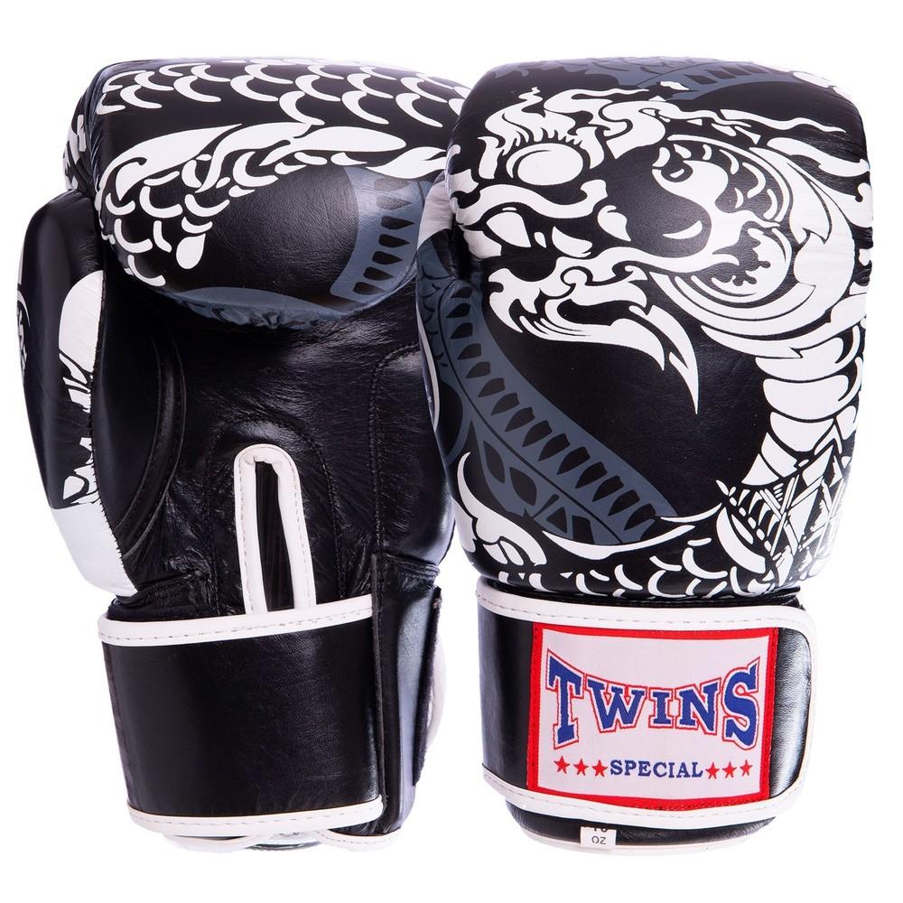 Перчатки боксерские кожаные на липучке twin 2063: 10-12 унций фото №1