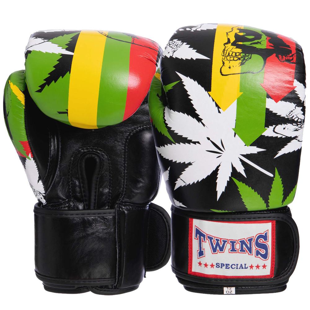 Перчатки боксерские кожаные на липучке twin 2057: 10-12 унций фото №1