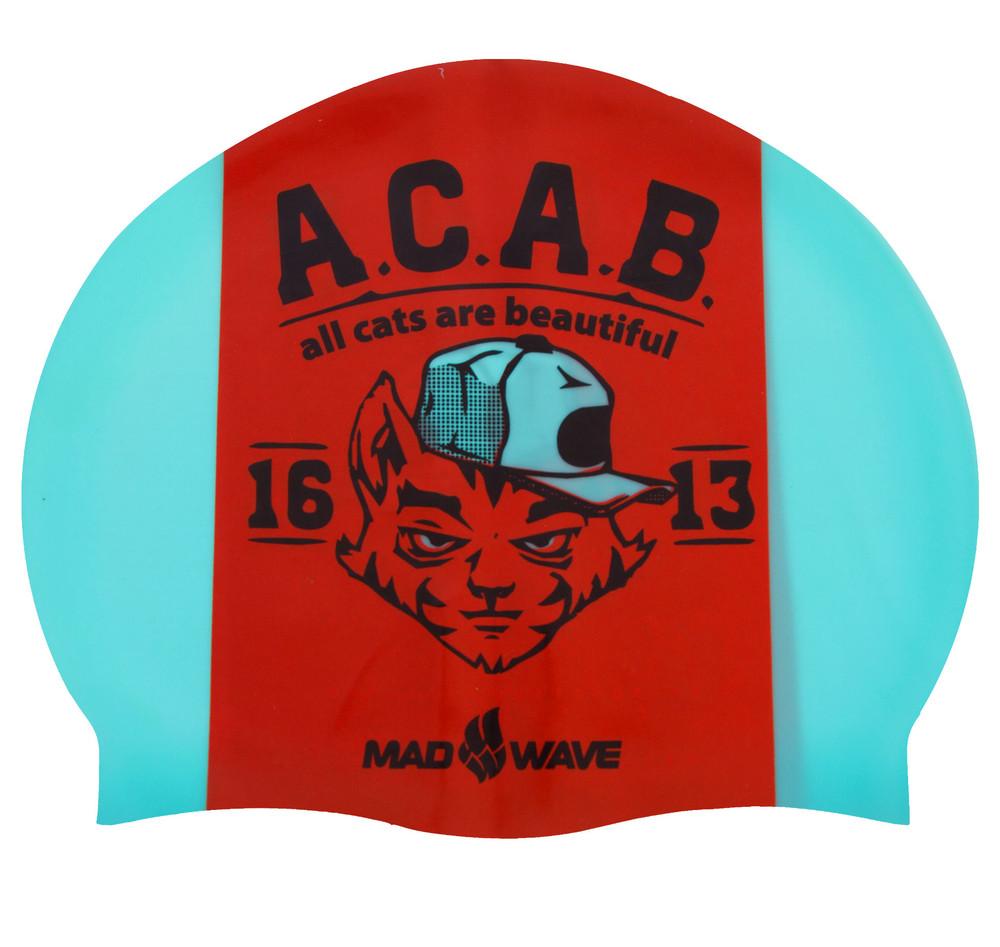 Шапочка для плавания madwave 055823000: силикон, бирюзово-красный фото №1
