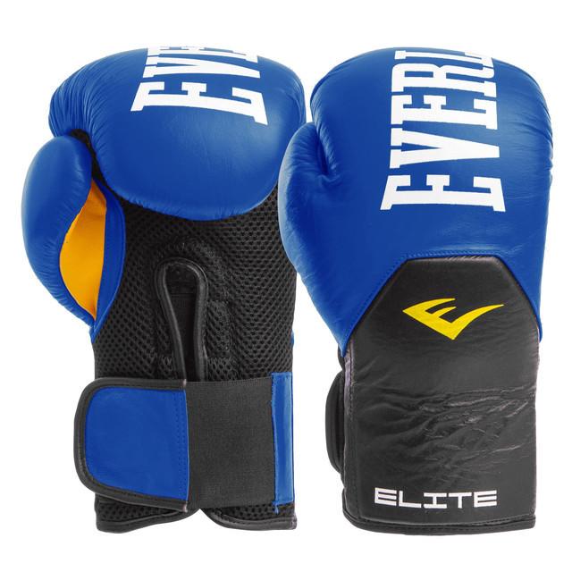 Перчатки боксерские кожаные на липучке elast 6757: 12 унций (blue/black) фото №1