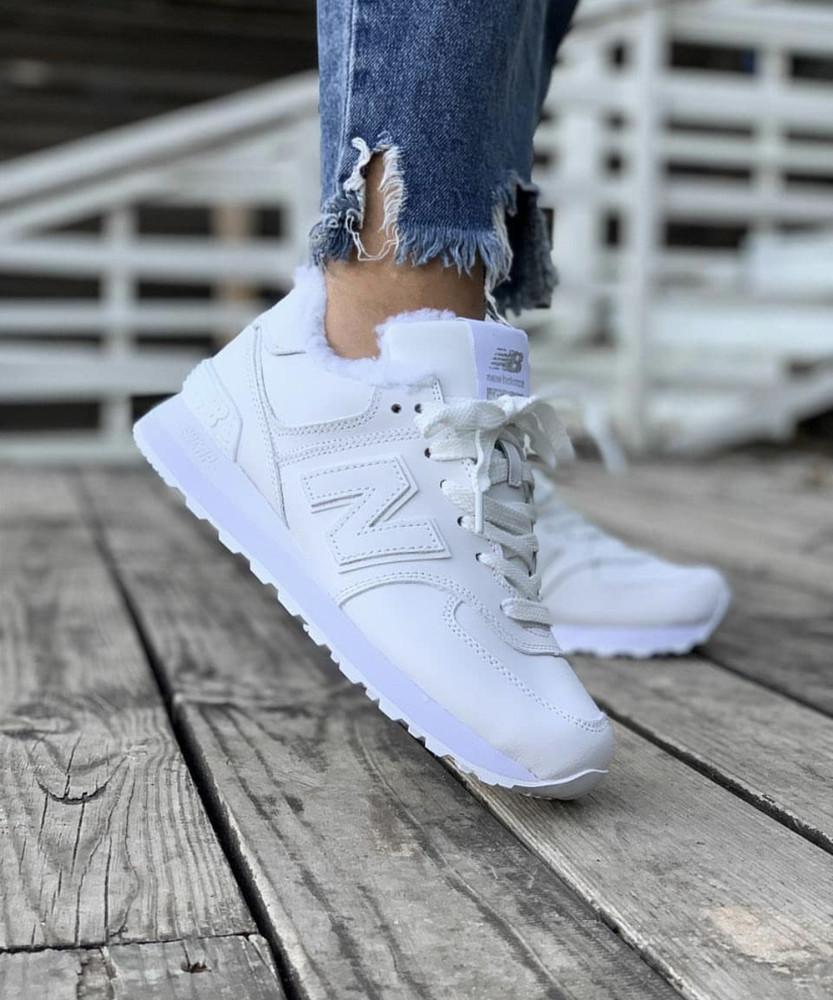 Зимние женские кроссовки new balance белые, зима, мех фото №1
