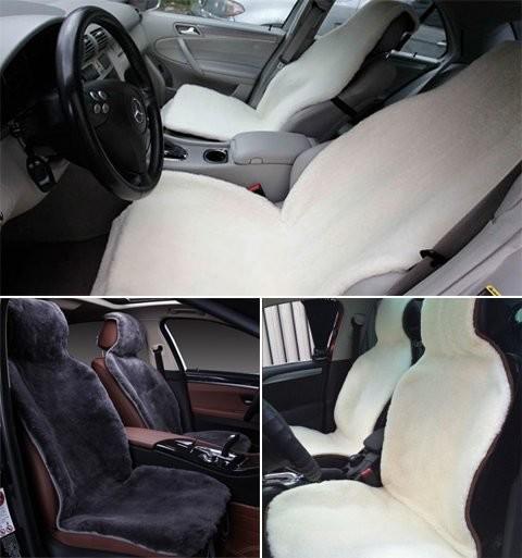 Накидка на сиденье автомобиля из натурального меха овчины мутона белый фото №1