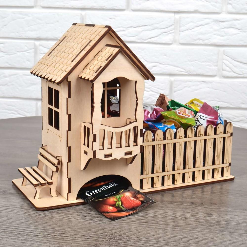 Подарок на новый год конструктор деревяный 3d пазл домик чайный и конфетница фото №1