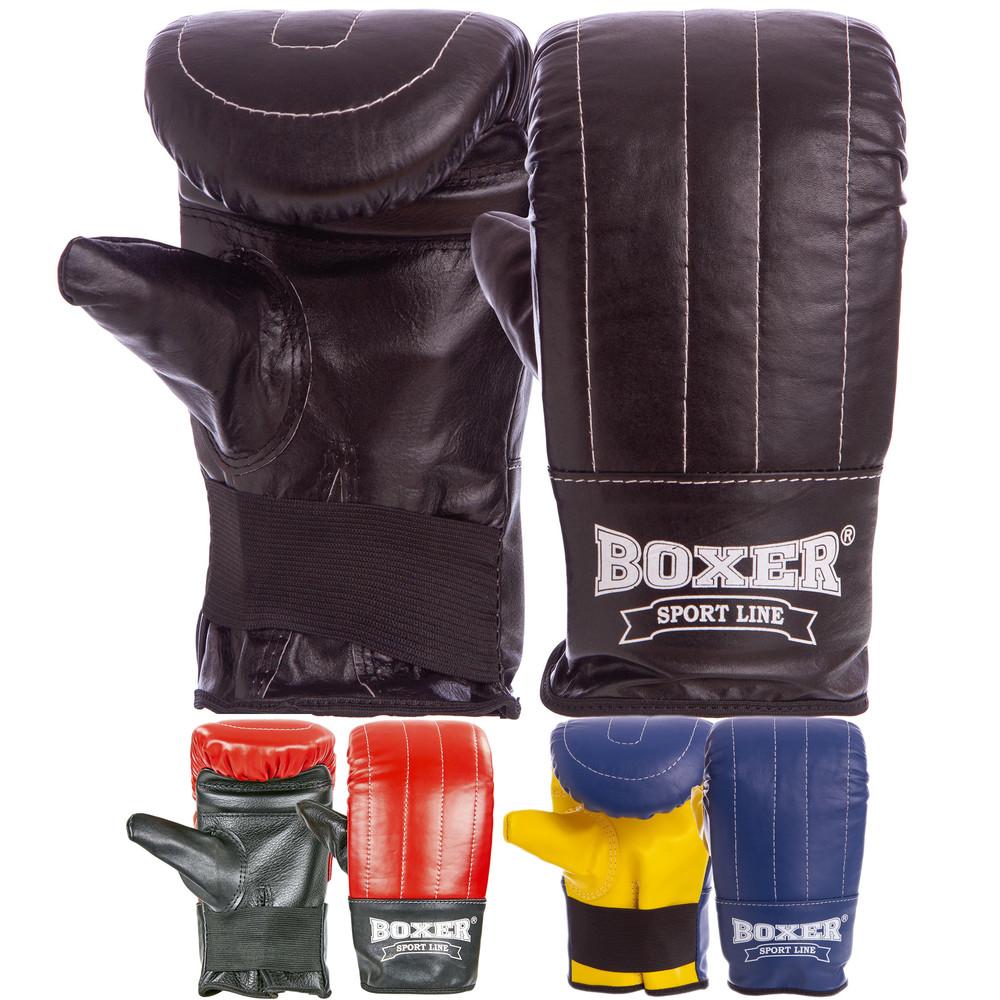 Снарядные перчатки кожаные тренировочные boxer 2014: размер l (3 цвета) фото №1