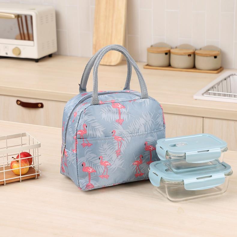 Термосумка, ланч-бокс, сумка для обедов, серая. фламинго и ветви. фото №1