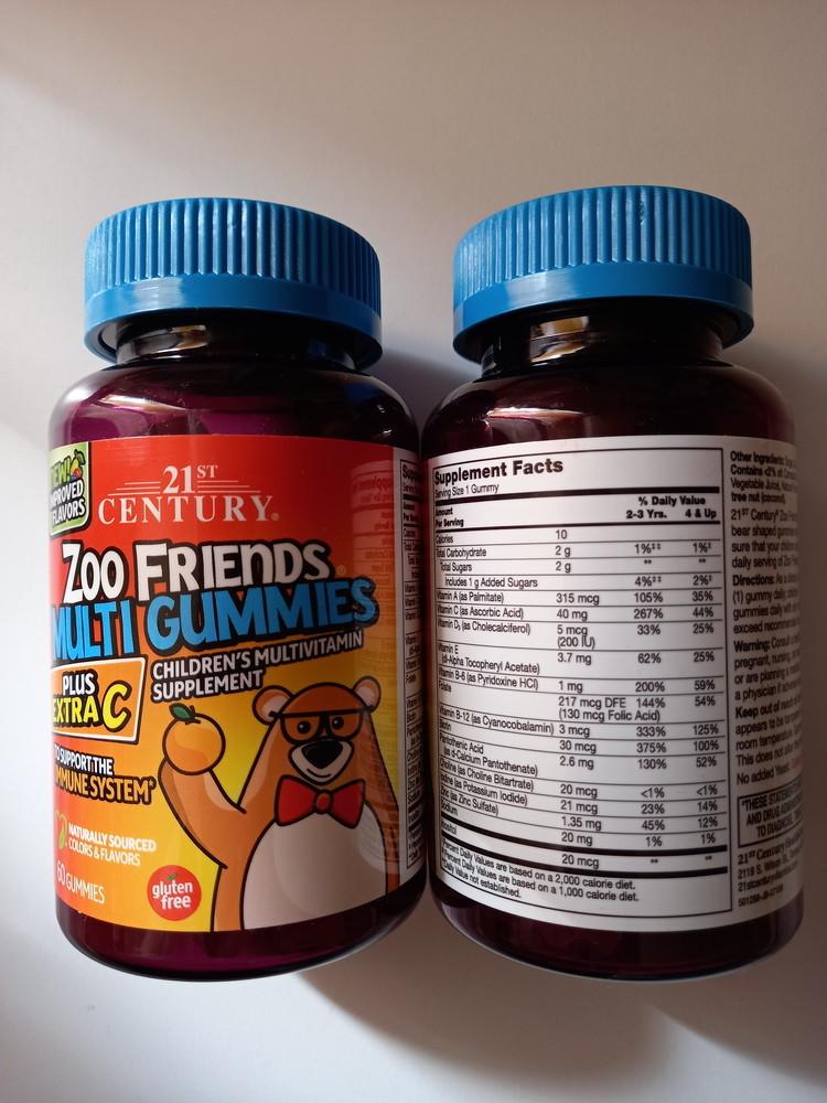 Мультивитамины для детей 21st century, zoo friends plus extra c 60 шт фото №1
