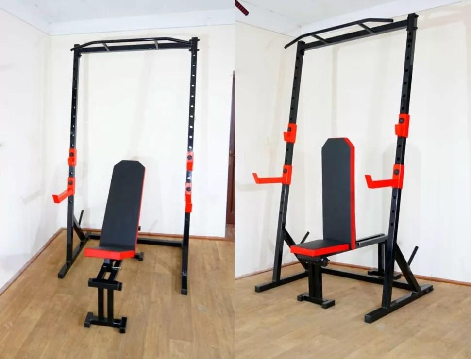 Стойка силовая с турником+ cкамья для жима prof rn-sport powertec red фото №1